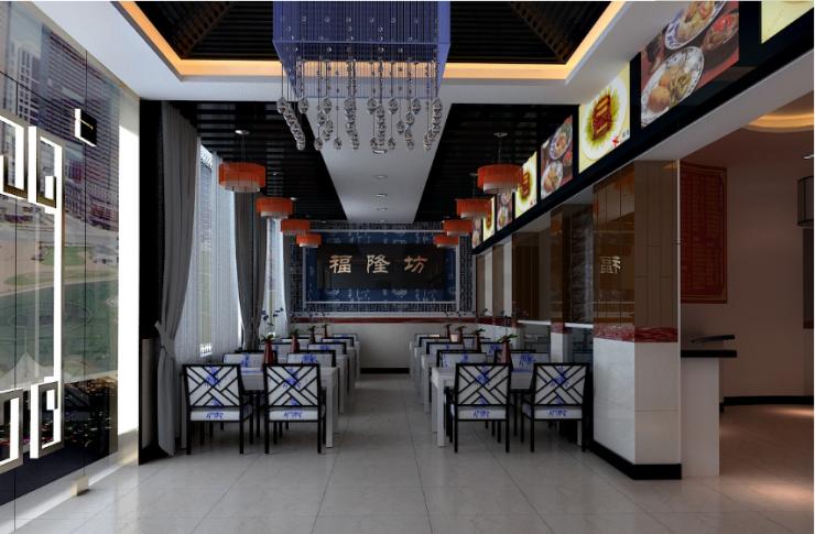 饭店风格结合中式和简约的装修风格,简单的顶面造型加上精致吊顶的