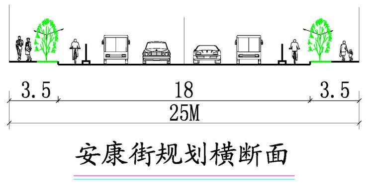 规划为南北向城市支路;规划道路红线宽20米,规划断面20m-3.