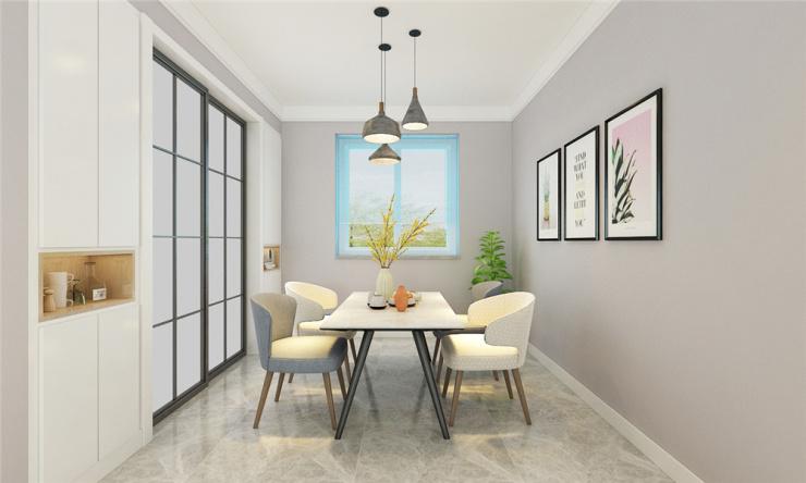 结构形式为南北通透户型,客餐厅以简约为主,家具以浅色系为主,影视墙