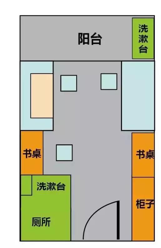 寝室四人一间,面积大,上床下桌,独立卫生间,阳台,洗漱台,储藏柜.图片