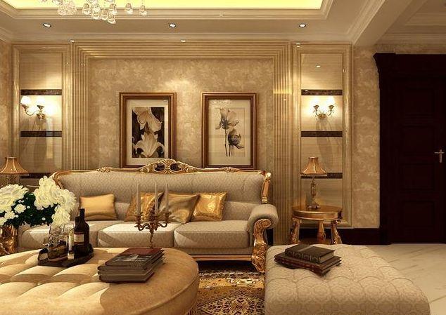 深浅形成对比,沙发背景墙中间铺贴皮质,组合型欧式沙发也是定制的,让