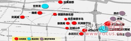 石家庄长安区古城-高营-东北板块楼盘分布图