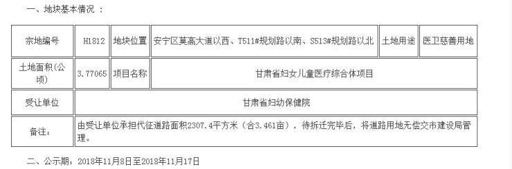 安宁新增大型医疗配套 甘肃省妇女儿童医疗综合体将建