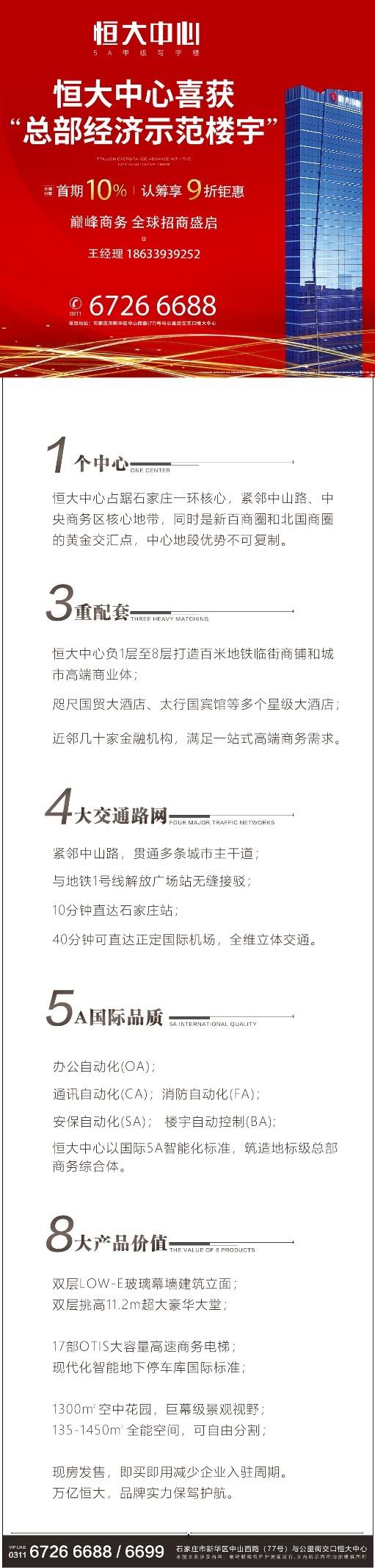 """石家庄恒大中心 """"总部经济示范楼宇""""授牌仪式盛大启幕"""