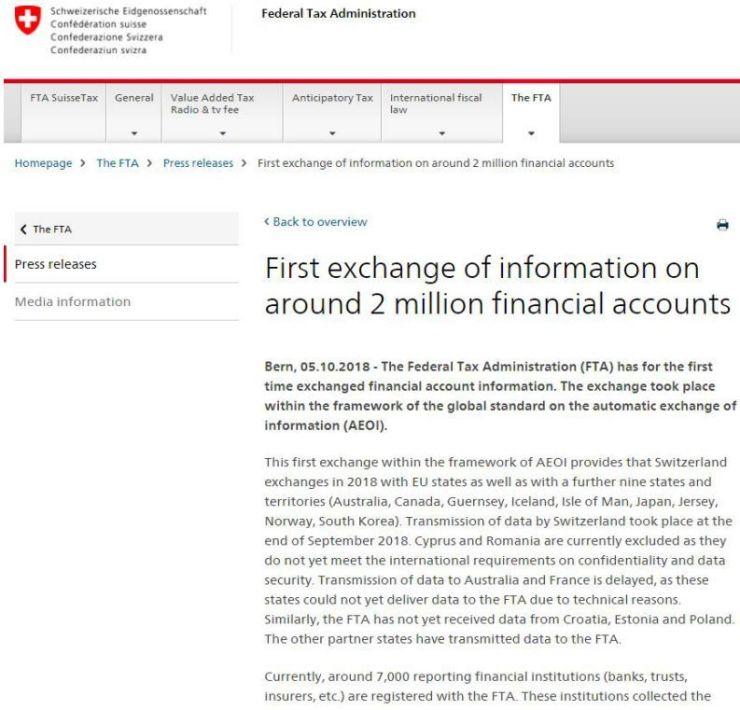 """""""避税天堂""""大门就此关闭!瑞士首次与他国交换客户金融信息,资产无处可藏时代来临"""