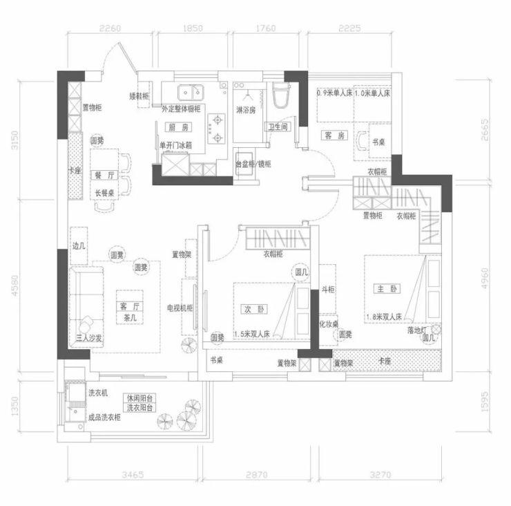 89平挤出3房2厅 芜湖东方红郡装修案例