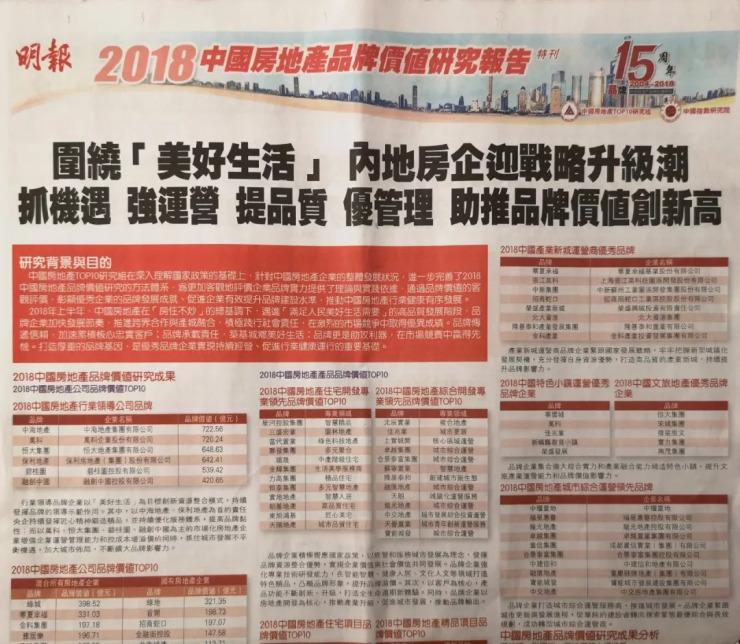 """中建信和地产连续四年蝉联""""中国中部房地产公司品牌价值TOP10"""""""